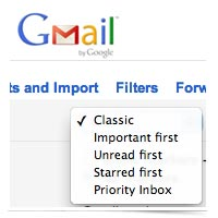 Gmail inbox settings.