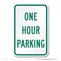 One Hour Parking sign.