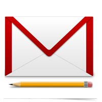 Image of email envelope and pencil.