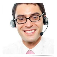 Image of man on headset.