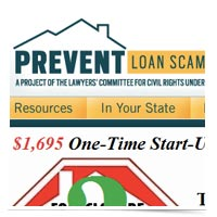 Image of PreventLoanScams.org home page.