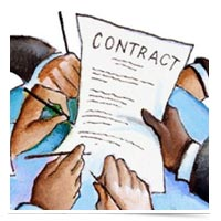 Image of hands on a contract.