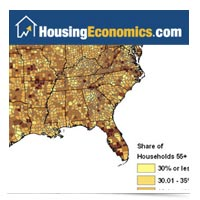 Image of HousingEconomics.com website map of U.S. homes with 55+ age by county.