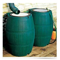 Image of two rain barrels.