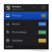 Image of Gmail's new inboxes, mobile app pictured.