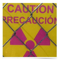Image of radioactive warning sign.