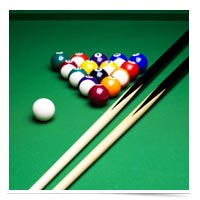 Image of racked billiard balls.