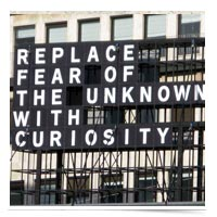 Image of sign with quote about fear.