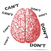 Image of brain, can't, don't