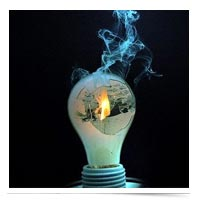 A burned out lightbulb.