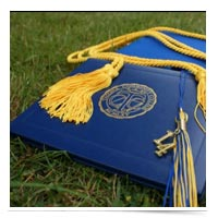 Diploma on the lawn.