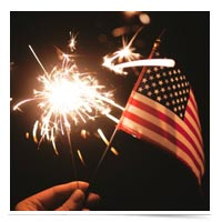Fireworks with a U.S. flag