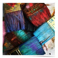 Colorful paint brushes.