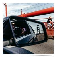 Side view mirror on Golden Gate Bridge