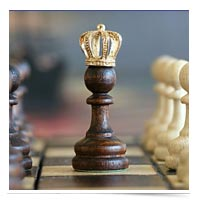 Pawn wearing a crown.