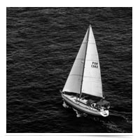 Sailboat on the open sea.