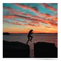 Man leaping a gap.