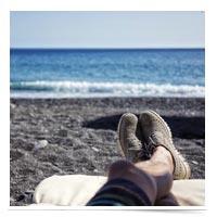 Feet up, relaxing.
