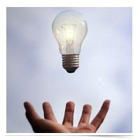 Lightbulb in the air.