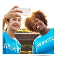 Volunteers taking a selfie.