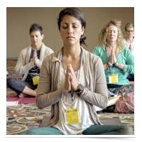Women meditating.