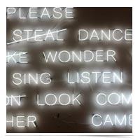 Words in neon.